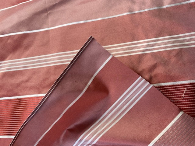 NEW 100% Silk Taffeta Ribbon Stripes Fabric - Salmon Pink & White