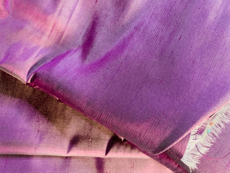 "NEW Duchess Mable 100% Silk Dupioni Decorating Fabric - 55"" Wide Orchid Pink Purple"