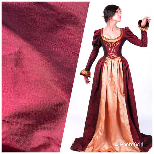 NEW Duchess Mable 100% Silk Dupioni - Solid Dark Red Fabric