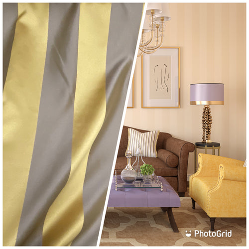 NEW Designer Striped Upholstery & Drapery Fabric - Gold and Gray