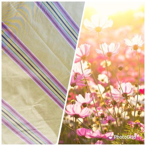 NEW 100% Silk Taffeta Stripes Fabric - Golden Yellow, Green, Pink, Purple
