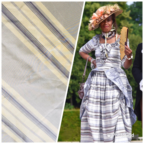 NEW 100% Silk Taffeta Yellow & Purple Stripes
