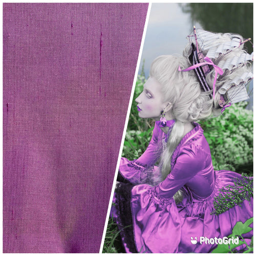 "NEW 100% Silk Dupioni Decorating Fabric - 55"" Wide Orchid Pink Purple"
