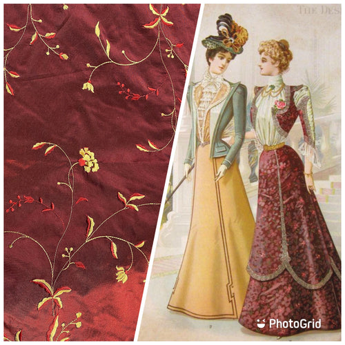 NEW 100% Silk Taffeta Embroidered Floral Fabric - Dark Red & Yellow