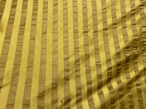 NEW Designer 100% Silk Taffeta with Satin Ribbon Stripes Fabric - Mustard Gold