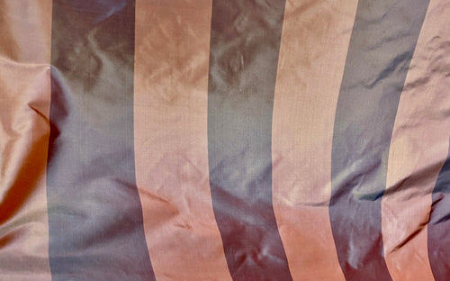 NEW Designer 100% Silk Taffeta Stripes Fabric - Frosty Purple & Frosty Rose Pink