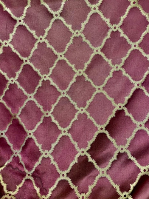 NEW 100% Silk Satin Fabric with Geometric Motif - Maroon