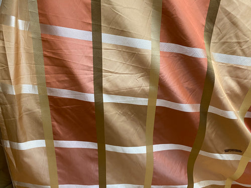 NEW 100% Silk Taffeta Fabric with Ribbon Stripes and Checks - Gold, Tan, Burnt Peach
