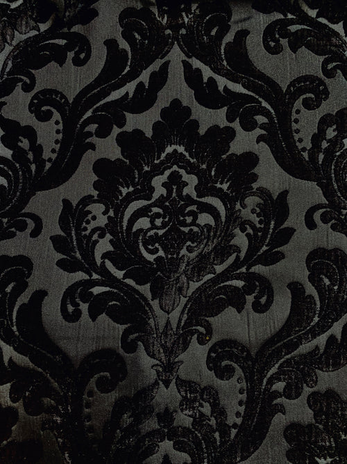 NEW Designer Damask Burnout Chenille Velvet Fabric - Black on Black