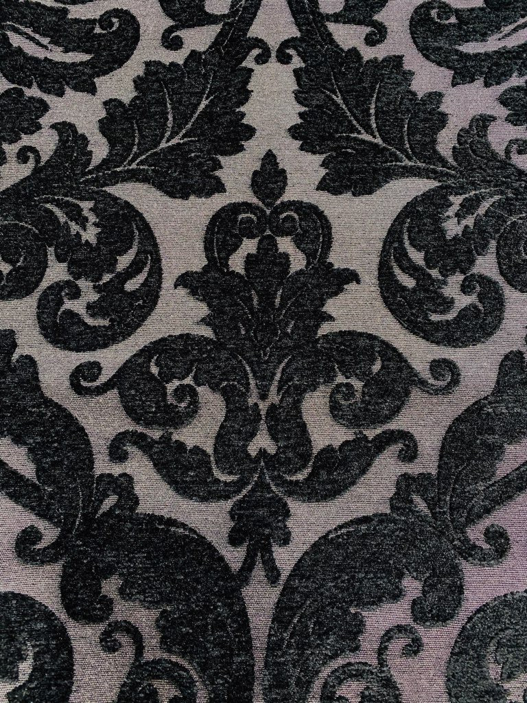 NEW Designer Damask Burnout Chenille Velvet Fabric - Upholstery - Black & Gray