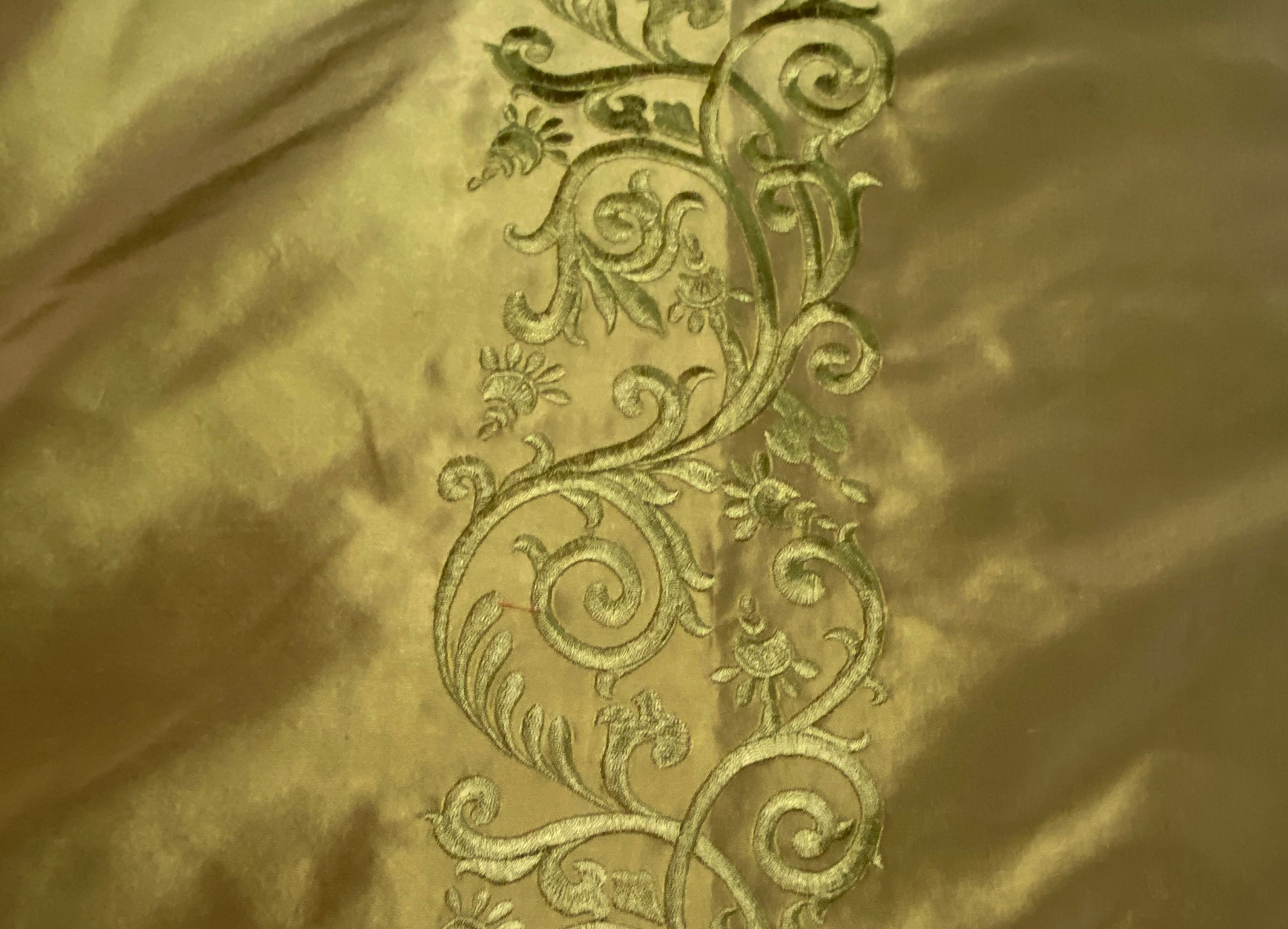 NEW Queen Chloe 100% Silk Taffeta Embroidered Fabric - Khaki Gold & Pink Highlights