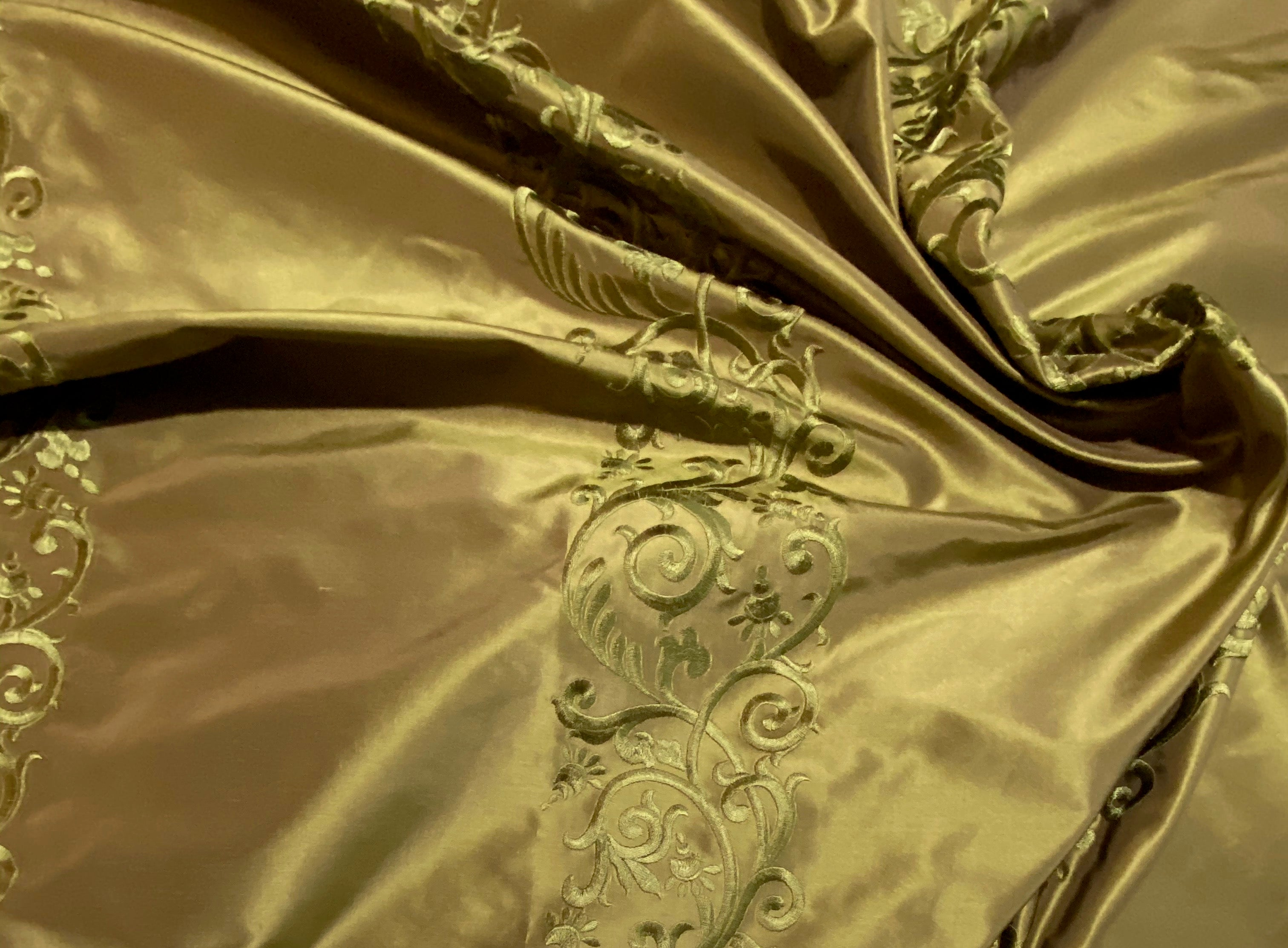 NEW 100% Silk Taffeta Embroidered Fabric - Khaki Gold & Pink Highlights