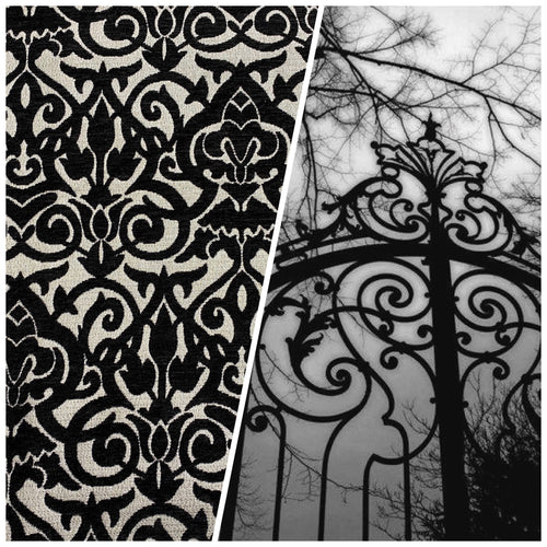 NEW Designer Damask Burnout Velvet Fabric - Black and Silver