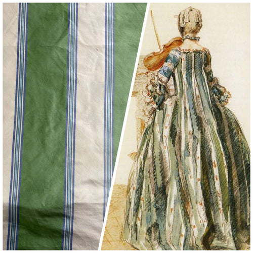 NEW Designer 100% Silk Taffeta Stripes Fabric - Blue, Green, Cream