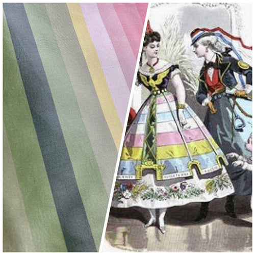 "NEW Designer 100% Silk Taffeta Rainbow Stripes Fabric - 55"" Wide"