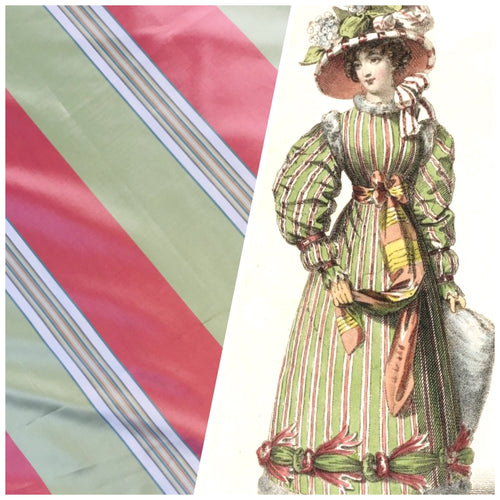 NEW 100% Silk Taffeta Fabric - Pink And Green Stripe