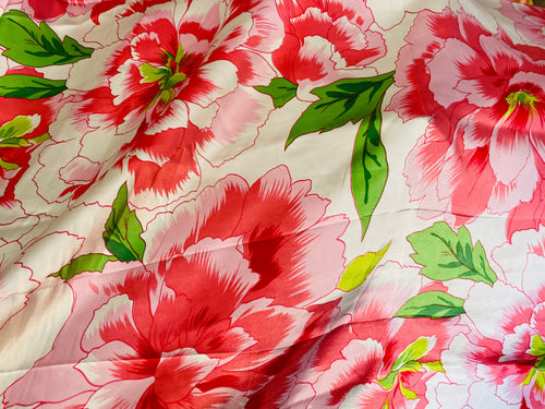 NEW Designer 100% Silk Charmeuse Large Floral Print Fabric