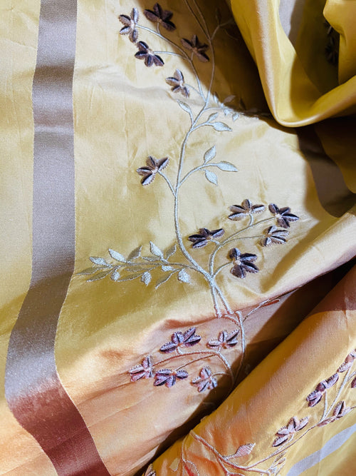 NEW Princess Harriet 100% Silk Taffeta Ribbon Stripes with Embroidered Velvet Yellow & Lavender Floral Motif Fabric