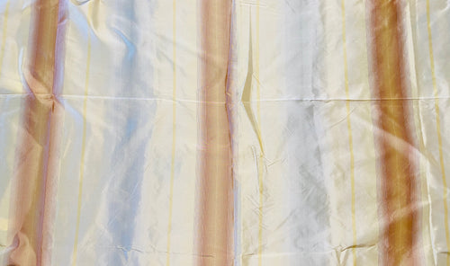 NEW Designer 100% Silk Taffeta Fabric with Burnt Peach Yellow & Gray Blurry Stripes