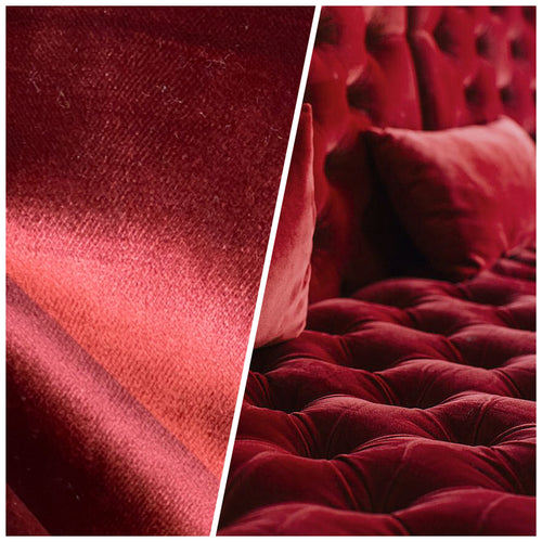 NEW Designer Made In Belgium Upholstery Velvet Fabric - Merlot Red