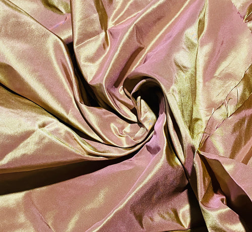 NEW 100% Silk Taffeta Fabric - Solid Rose Gold Iridescent