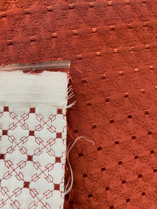 NEW 100% Silk Designer Brick Red Quilted Fabric