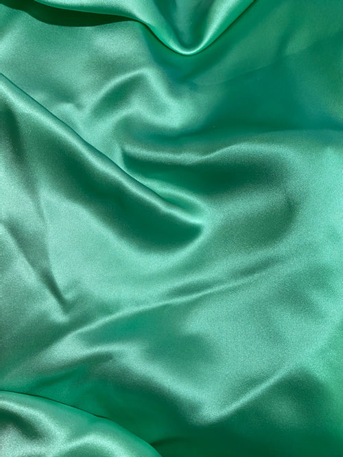 New Bright Aqua Green 100% Silk Charmeuse Fabric