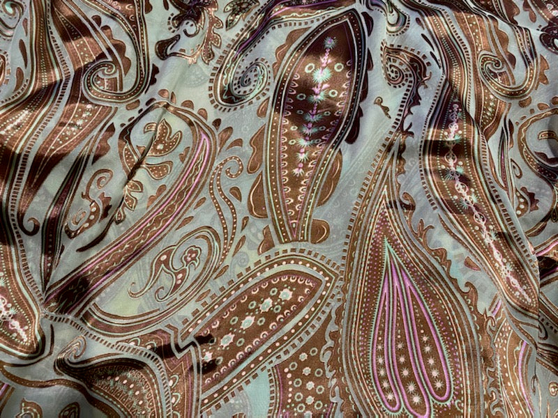 New  100% Silk Charmeuse and Chiffon Burnout Bohemian Fabric