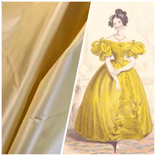 NEW Designer 100% Silk Taffeta Solid Butter Yellow Fabric