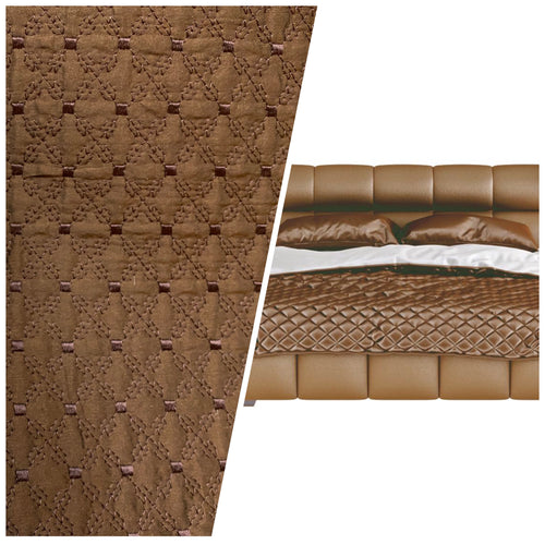 NEW 100% Silk Designer Brown Quilted Fabric