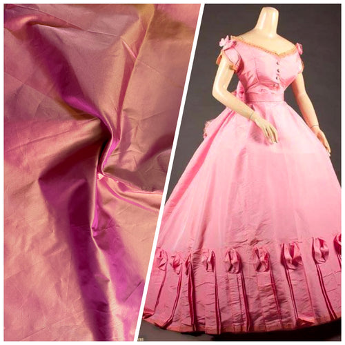 NEW Designer 100% Silk Taffeta Fabric Pink with Gold Iridescence