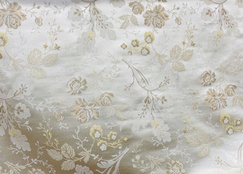 NEW Designer Neoclassical Satin Floral Aubusson Inspired Fabric - Made in Italy