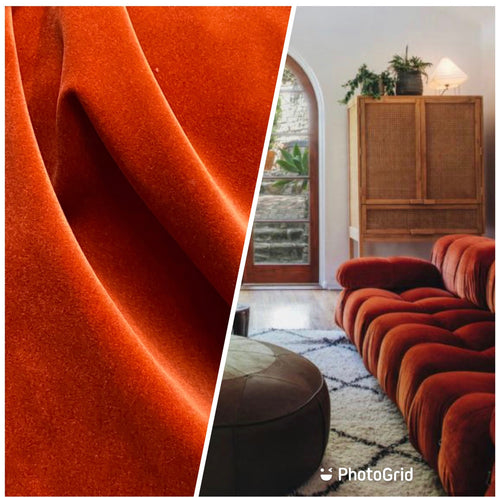 NEW Designer Upholstery Velvet Fabric - Tomato Orange