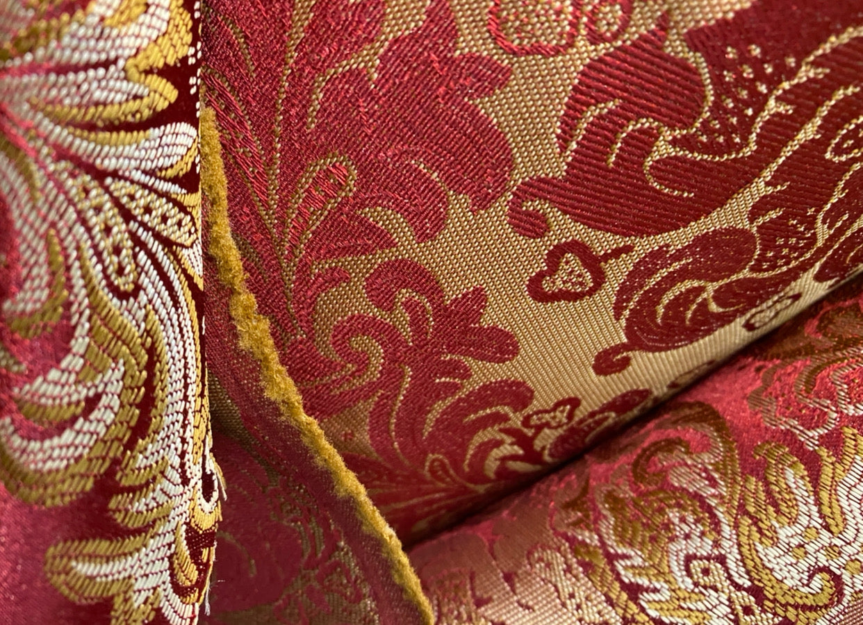 NEW Designer Damask Satin Drapery Upholstery Fabric - Red & Gold