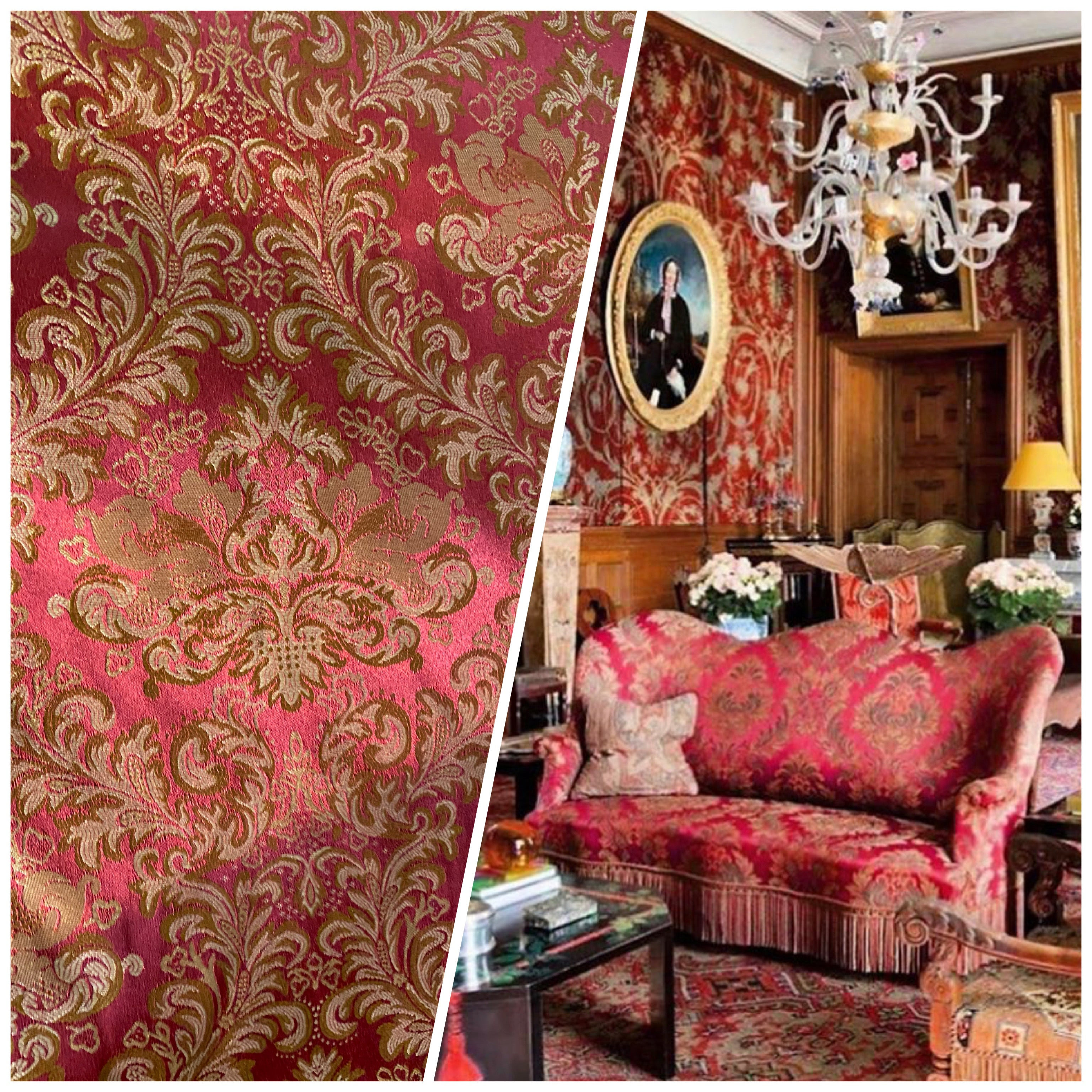 NEW Prince Liam Designer Damask Satin Drapery Upholstery Fabric - Red & Gold