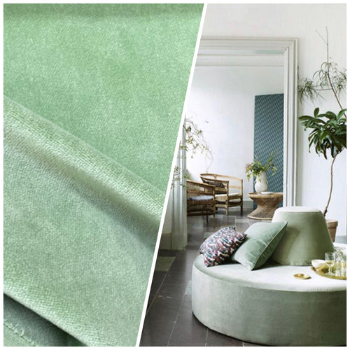 NEW Designer Upholstery Cotton Velvet Fabric - Pistachio Green