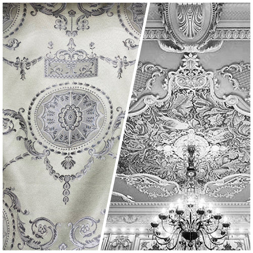 NEW Designer Satin Damask Drapery Fabric - Silver Gray