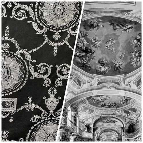 NEW Designer Satin Damask Drapery Fabric - Black Silver