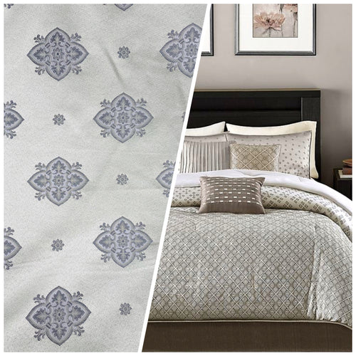 NEW Designer Satin Geometric Floral Drapery Fabric - Silvery Gray
