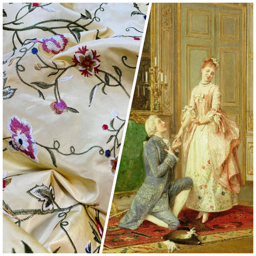 NEW 100% Silk Taffeta Dupioni Decorating Fabric Embroidery Floral Butter Yellow