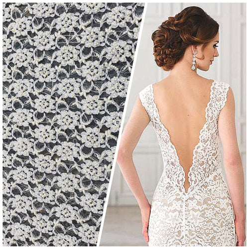 NEW Designer Bridal Beaded Mesh Floral Lace with Pearls Fabric