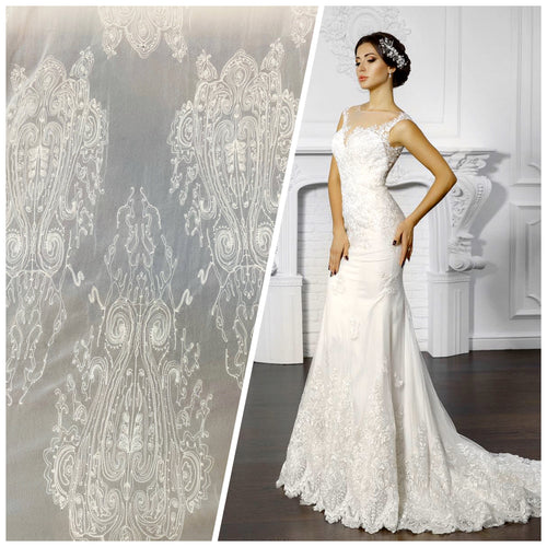 NEW Designer Bridal Embroidered 100% Silk Chiffon with Chandelier Motif in Ivory White