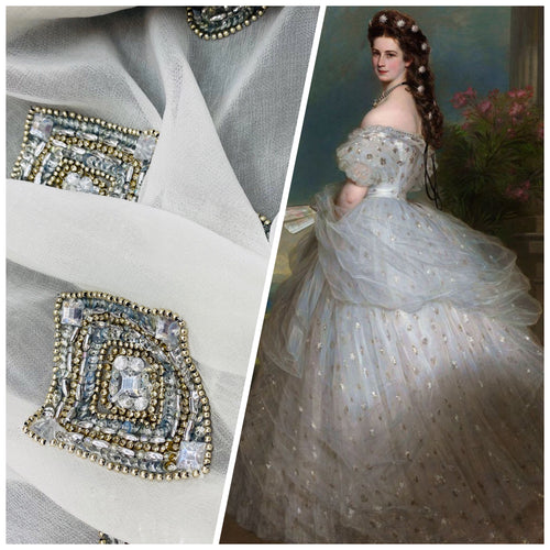 NEW Bridal 100% Silk Chiffon with Silver and Glass Beading and Jewels Fabric