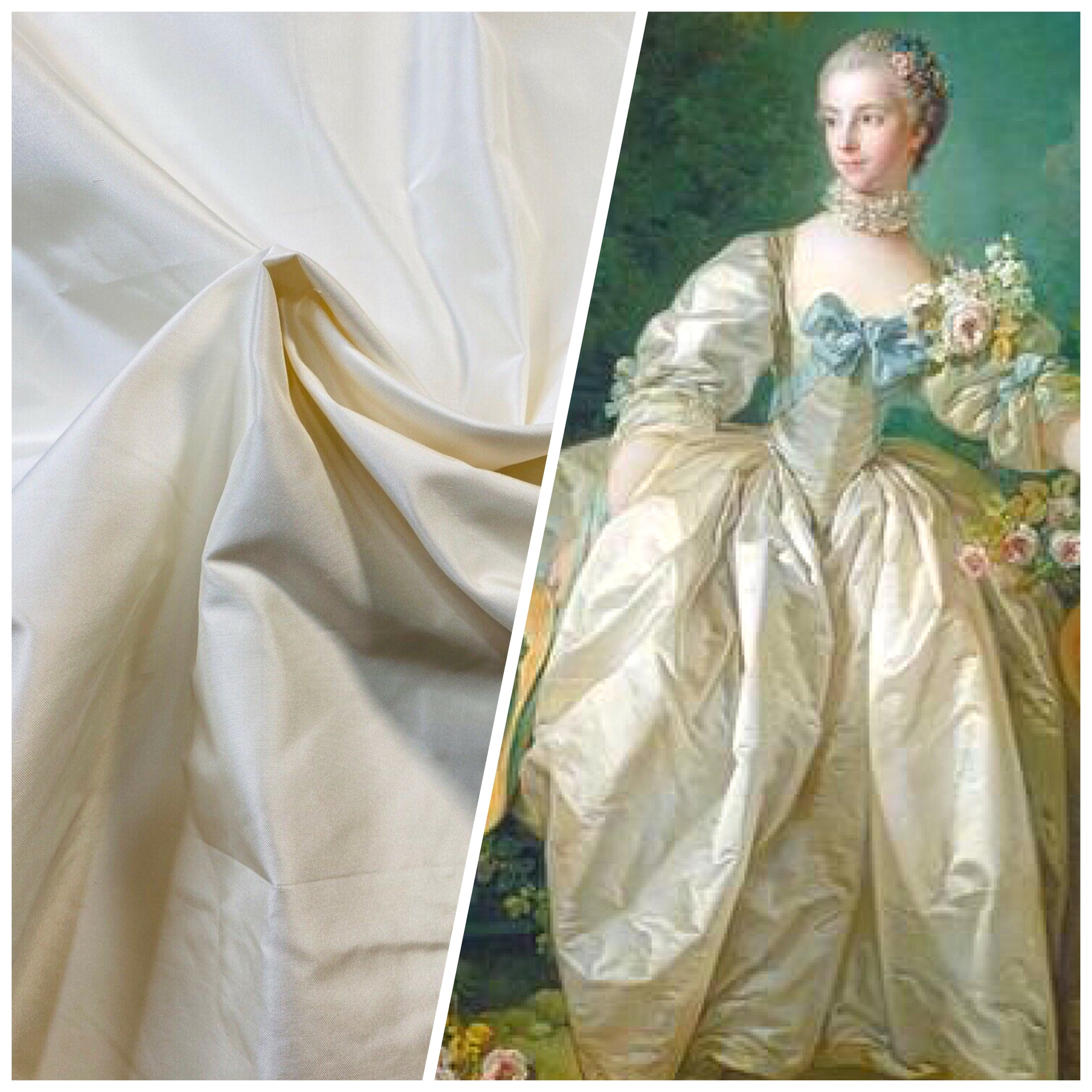 NEW Designer 100% Silk Taffeta Fabric -Solid Cream White