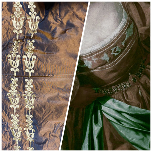 NEW Designer 100% Silk Taffeta Drapery Fabric Copper with Blue Iridescence with Gold Tulip Stripe