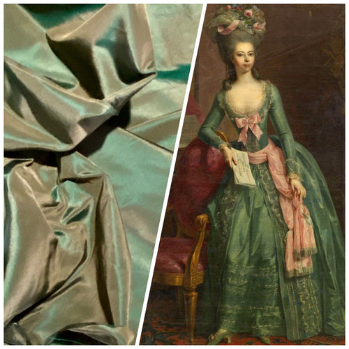 NEW Lady Lisa Designer 100% Silk Taffeta Fabric - Electric Green with Peach Iridescence