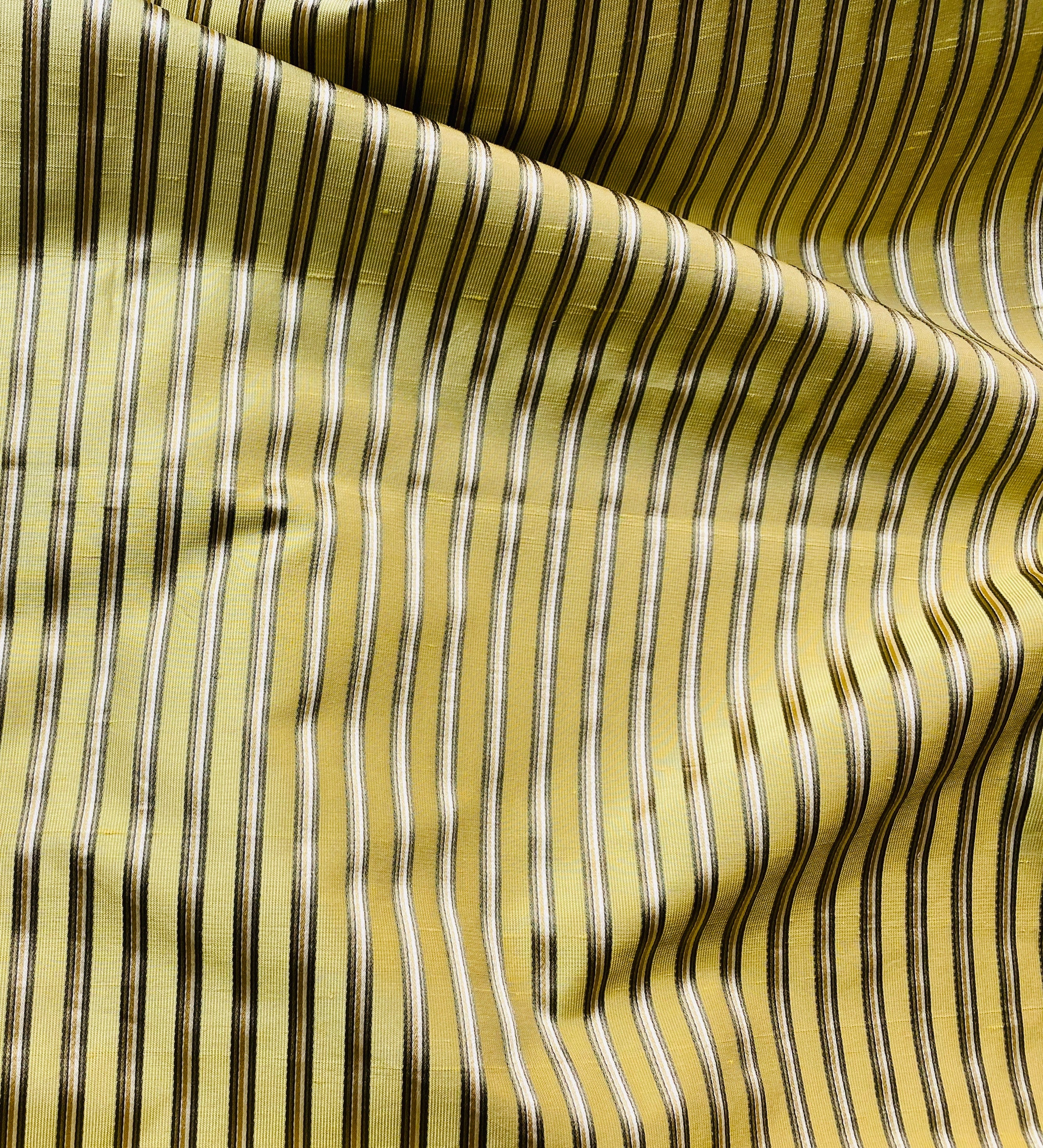 NEW Designer Pinstripe Satin Ribbon Striped Silk Dupioni - Yellow, Khaki, & Green