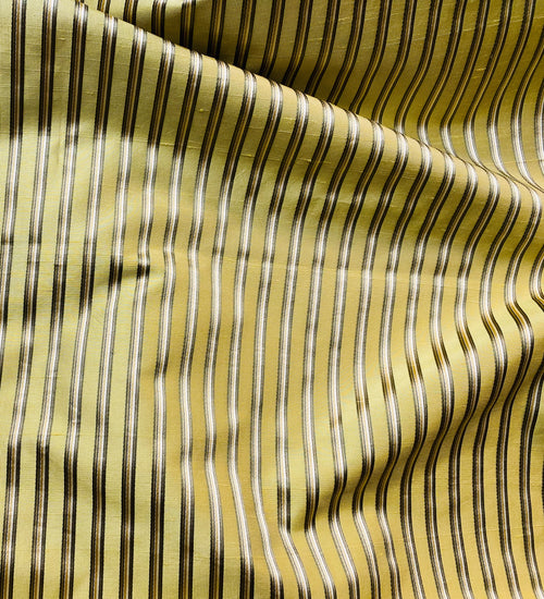 NEW Princess Kinsley Designer Pinstripe Satin Ribbon Striped Silk Dupioni - Yellow, Khaki, & Green