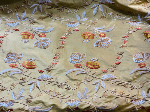 NEW Lady Augusta Designer 100% Silk Taffeta Embroidery Fabric - Antique Yellow Gold Floral