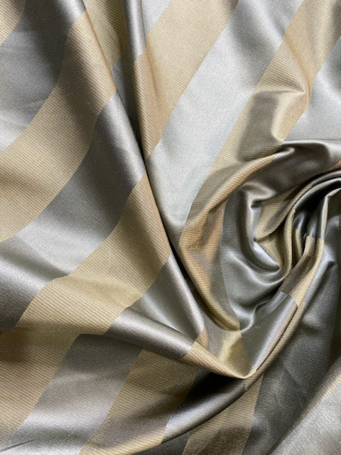 NEW Princess Sophie 100% Silk Fabric Silver and Gold Stripes